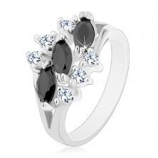 Inel lucios de culoare argintie, zirconii negre în formă de bob, zirconii transparente