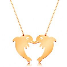 Colier din aur 585 - lanț subțire, doi delfini ce formează un contur de inimă