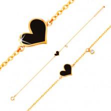 Brățară realizată din aur galben de 14K - inimă neagră asimetrică și zirconiu transparent, lanț