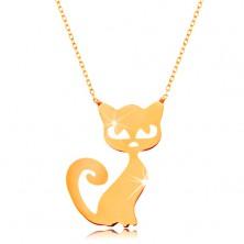 Colier din aur 585 - lanţ subțire lucios, pandantiv plat - pisică
