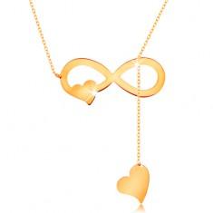 Colier realizat din aur galben 585 - lanț subțire, simbolul infinitului, plat și inimă