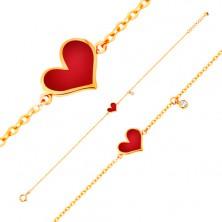 Brățară realizată din aur galben de 14K - inimă roșie asimetrică și zirconiu transparent, lanț