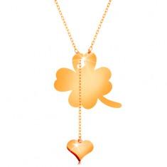 Colier realizat din aur galben de 14K - trifoi cu patru foi și inimă atârnată, lanț lucios