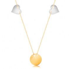 Colier din aur 585 - lanț subțire, cerc plat lucios, două inimi realizate din aur alb