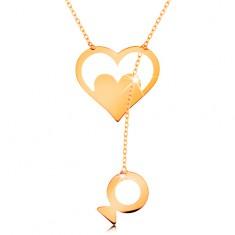 Colier realizat din aur galben de 14K - contur de inimă cu inimă și pește atârnat
