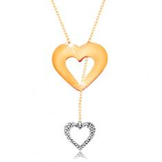 Colier realizat din aur de 14K - lanț subțire, contur de inimă și inimă atârnată