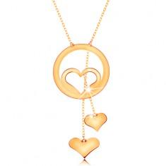 Colier din aur 585 - contur de inimă în cerc și două inimi atârnate pe lanțuri