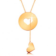 Colier realizat din aur galben de 14K - cerc cu decupaj de inimă și inimă atârnată