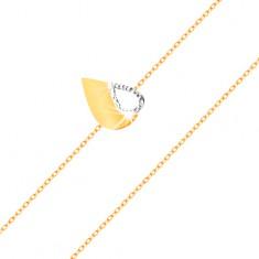 Brățară din aur de 14K - lanț subțire, lacrimă bicoloră plată cu decupaj