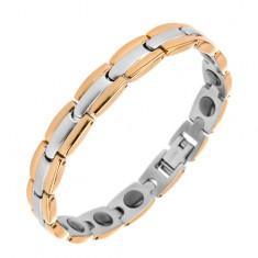 Brățară realizată din oțel chiruergical, Y - zale în combinație de culori auriu și argintiu