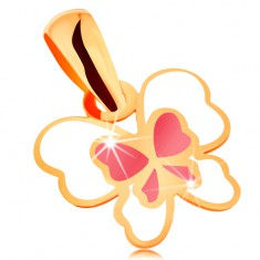 Pandantiv realizat din aur galben de 14K, fluture decorat cu email alb și roz