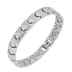 Brățară din oțel de culoare argintie - magnetică, zale mate-lucioase
