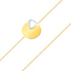 Brățară din aur de 14K - lanț subțire, cerc plat lucios, contur de inimă realizat din aur alb