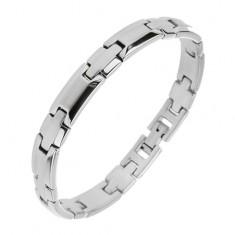 Brățară realizată din oțel chirurgical, culoare argintie, centru mat și margini lucioase