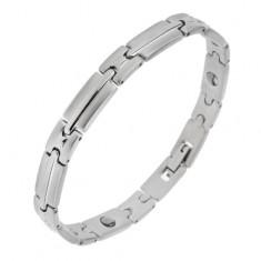 Brățară magnetică din oțel de culoare argintie, zale mate-lucioase cu bandă în mijloc