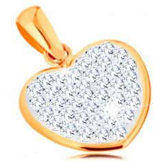 Pandantiv realizat din aur galben de 14K - inimă strălucitoare decorată cu cristale Swarovski