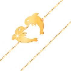 Brățară din aur 585 - doi delfini ce formează un contur de inimă, lanț subțire