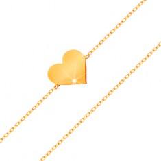 Brățară realizată din aur de 14K - lanț îngust strălucitor, pandantiv - inimă plată
