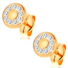 Cercei realizați din aur galben de 14K - cerc strălucitor compus din zirconii transparente, centru din aur, șuruburi