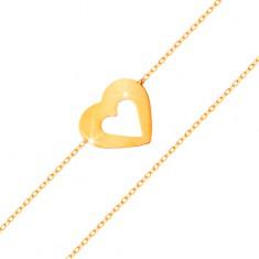 Brățară realizată din aur galben de 14K - lanț îngust, inimă plată cu decupaj în mijloc