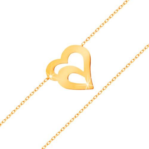 Bijuterii eshop - Brățară din aur 585 - lanț subțire format din zale ovale, contur dublu de inimă GG159.11