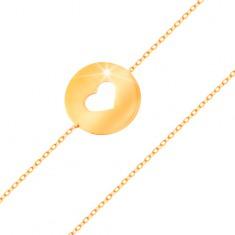 Brățară din aur 14K - cerc cu decupaj în formă de inimă și suprafață plată și lucioasă