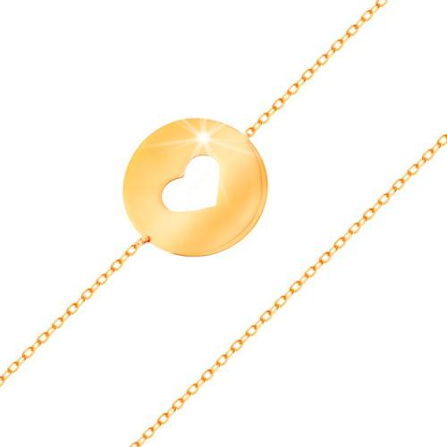 Bijuterii eshop - Brățară din aur 14K - cerc cu decupaj în formă de inimă și suprafață plată și lucioasă GG159.14