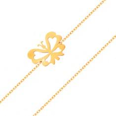 Brățară realizată din aur galben de 14K - lanț îngust, fluture plat cu aripi decupate
