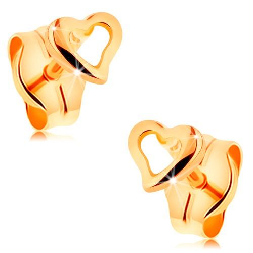 Bijuterii eshop - Cercei realizați din aur galben de 14K - contur de inimă mică asimetrică GG162.01