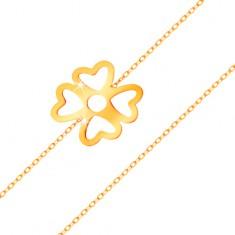 Brățară realizată din aur galben 585 - trifoi cu patru foi norocos, cu decupaje, lanț lucios