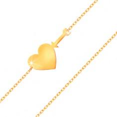 Brățară din aur galben 585 - lanț subțire lucios, inimă plată lucioasă și săgeată