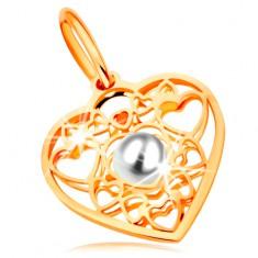 Pandantiv din aur galben 585 - inimă decorată cu contururi de inimi și o perlă albă