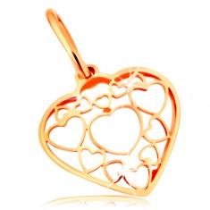 Pandantiv realizat din aur galben de 14K - inimă decorată cu contururi mai mici și mai mari de inimă