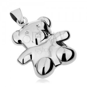 Pandantiv realizat din oțel 316L de culoare argintie, urs cu două fețe, luciu intens