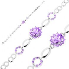 Brățară realizată din argint 925, zale lucioase, floare din zirconiu violet, contururi de bob