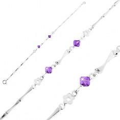 Brățară din argint 925, flori, zirconii violet și zale lucioase