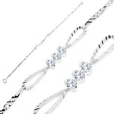 Brățară strălucitoare - argint 925, zale lucioase cu striații, fundă cu zirconii