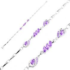 Brățară din argint 925, ajustabilă, zale lucioase, picături și bobițe violet