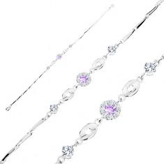 Brățară din argint 925, floare din zirconii violet și transparente, ovaluri lucioase, zirconii transparente