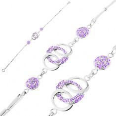 Brățară din argint 925, zale strălucitoare, cercuri unite, cercuri, zirconii violet