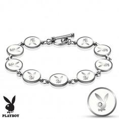 Brățară argintie din oțel, cercuri albe cu iepuraș Playboy, zirconii