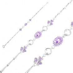 Brățară argint 925 ajustabilă, zale lucioase, oval violet, trifoi