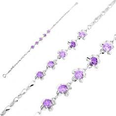 Brățară din argint 925, zale lucioase tip buclă, flori cu zirconii violet