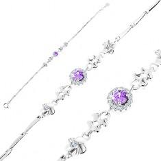 Brățară din argint 925, ajustabilă, zirconii violet cu margine transparentă, flori, inimi