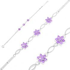 Brățară din argint 925, zale lucioase dreptunghiulare, bobițe și flori din zirconii violet
