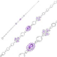 Brățară argint 925 ajustabilă, zale rotunde, oval violet, trifoi