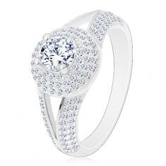 Inel din argint 925 - de logodnă, brațe despicate, cerc strălucitor cu zirconii