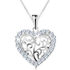 Colier realizat argint 925, inimă formată din ornamente cu margine din zirconiu transparent