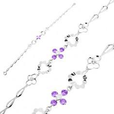 Brățară din argint 925, zirconii violet, zale în formă de inimi, flori și lacrimă