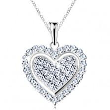 Colier realizat din argint 925, inimă strălucitoare încrustată cu zirconii transparente
